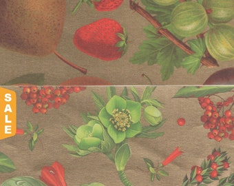 Hot August Paper Sale Rich Fruit and Botanicals on Gold 12x12 Art Papers for Gift Wrap, Card Making, Decor and More