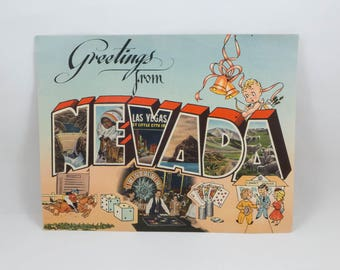 Vintage Used Giant Postcard Mid Century Nevada Retro Graphic Vacation Kitsch Paper Ephemera Scrapbooking