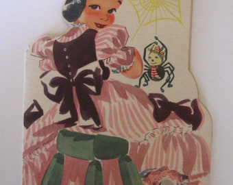 Vintage 1940s Little Miss Muffet Get Well Card with Nursery Rhyme Story