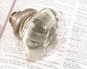 Vintage RIBBED Glass & Brass Door Knob - Antique Crystal Doorknob Hardware - A