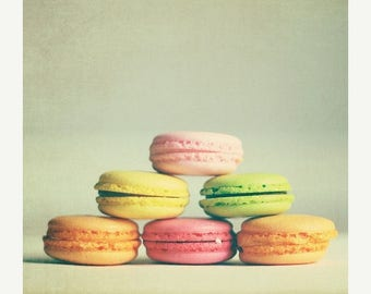 Art for Kitchen food: french macarons No.3 Fine Art Food Photography Pastel Cookies Kitchen Art kitchen wall art, Still life photography