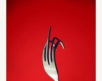 Fork You in red Fine Art Photography Still life Photography Funny Rude Print Kitchen Wall Decor Kitchen Art for Kitchen Red Kitchen Art,