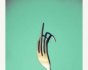 Fork You in Retro Seafoam Green Fine Art Photography Funny Rude Print Kitchen Wall Decor Kitchen Art for Kitchen Still life Photography