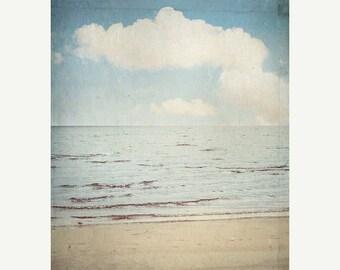 Beach Photography Vintage Inspired Seascape Ocean photograph Fine Art Nature Photography Clouds Sky blue Sand Sea Vertical print