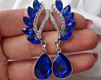 sapphire blue earrings, blue chandelier earrings, blue wedding earrings, dark blue jewelry, cobalt blue jewelry, bridal blue earrings