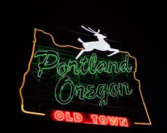 Portland Oregon Neon Sign Print | Made in Portland | Portland Old Town Neon Sign Art | Retro Home Decor | Fine Art Photography