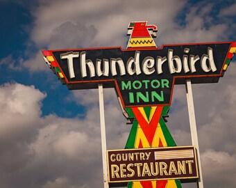 Thunderbird Motor Inn Neon Sign Art | Mid Century Art | South Carolina Art | Neon Sign | Retro Wall Art | Motel Sign | Guest Room Decor