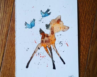 Bambi watercolor painting