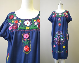1980s Navy Mexican Embroidered Caftan