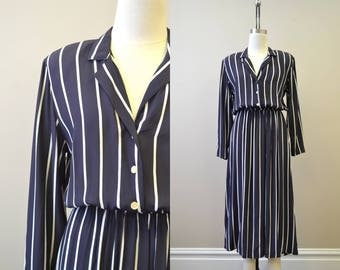 1980s Navy and White Striped Shirt Dress