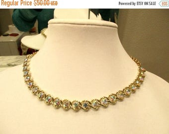 Unstoppable Dazzle: High End Estate, Vintage 24 Large Prong-Set AB Round CRYSTAL Necklace with Gold Plate Link Chain - MINT