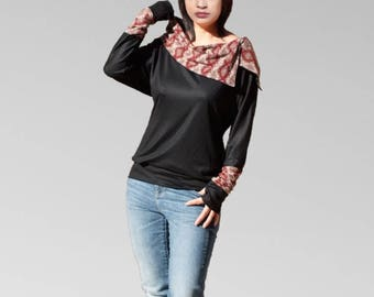 Cowl neck Tops tunic in soft jersey cotton extra long sleeves