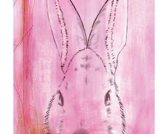 12x16 Inch Nursery Print - Bunny, Pink