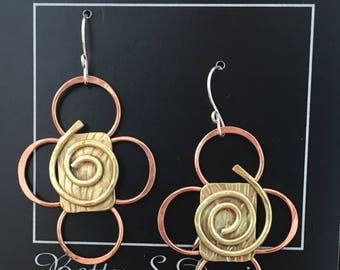 Handcrafted brass and copper earrings