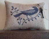 Primitive cross stitch sampler Stoneware Bird cupboard tuck/pinkeep small pillow Priscilla's Pocket II design #7