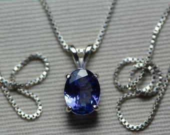 Tanzanite Necklace, Certified 1.42 Carat Genuine Tanzanite Pendant, Oval Cut, Sterling Silver, Real Genuine Natural Blue Tanzanite