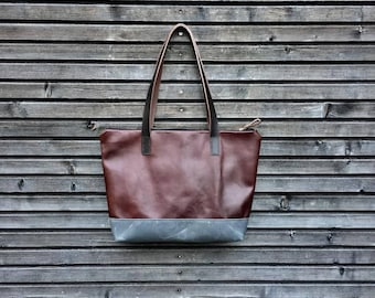 Leather tote bag / shoulderbag with zipper made from oiled leather and waxed handles and waxed canvas bottom, unisex collection