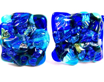 "Dichroic Knobs - Set of 2 - Drawer Pull Cabinet Handle - Mosaic 1"" / 25mm - Teal Clear Blue Sea Beach Custom Made Fused Glass Kitchen Bath"