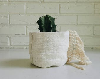 Creamy White African Mudcloth Plant Coverwith Fringe - Fabric Planter - Modern Bohemian Decor