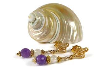 Amethyst Moonstone Earrings, Purple Stone Earrings, Birthstone Jewelry,  Gold Jewelry, Semi Precious, Luxe