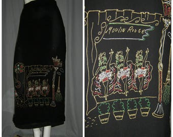 1990's  1950's sty Black Rayon Paris Moulin Rouge Eiffel Tower Novelty  Wiggle Skirt Party Dress XL volup rockabilly vlv