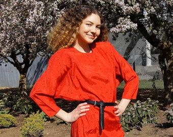 80's Avant Garde Ruched Red Polka Dot Dress