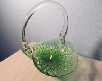 Vintage Green Glass Basket with Unique Texture Outside