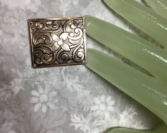 "Vintage 1 1/2"" Goldtone Square Shape Flower Scarf Clip - Western Germany"