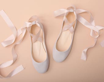 The Wedding Shoes With Satin Ribbons Lace Up Bridal Ballet Flats