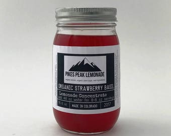 Strawberry Basil Lemonade - Herbal Tea - Gifts for Her - Wedding Favors - Simple Syrup - Martini Mix - Bridesmaid Gifts Cheap - Colorado