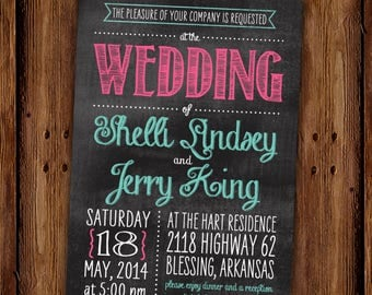 Chalkboard Wedding Invitation - Engagement Party - Couples Shower - Rehearsal Dinner - Printable file or Printed Invitations
