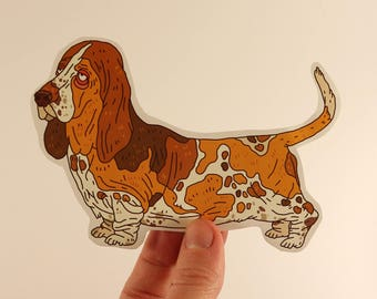 hound stickers laptop labels tags dog illustration