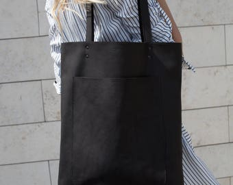 Xmas in July Simple Black Leather Tote bag No. LPB-2055
