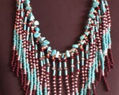 Native American necklace, Native American Jewelry, Beaded Necklace, Boho, Statement Necklace, Tribal Necklace, Turquoise