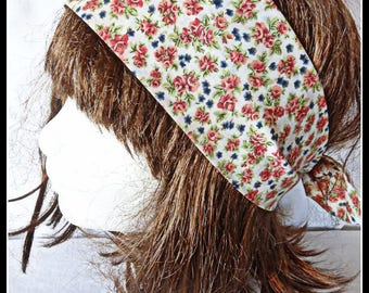 White flower headband pink and blue