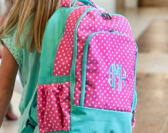 FREE pencil pouch offer FREE monogramming - Personalized Monogrammed Full sized Embroidered Hot Pink Mint DOTTIE Backpack Bookbag