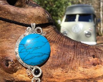 Blue Howlite & Sterling Silver Wire Wrapped Pendand