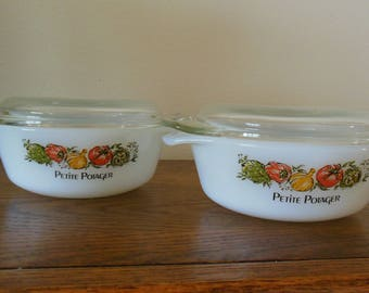 PAIR of Pyrex Petite Potager (Baby Casseroles)  with LIDS