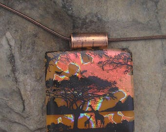 Africa Necklace Dichroic Fused Glass Giraffe Jewelry