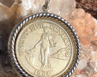 1964 Centavos Coin Pendant