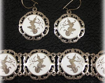 Siam Sterling Silver White Link Bracelet and Matching Earrings, Round Panels, Mekhala, Pierced Earrings, Dancing Goddess