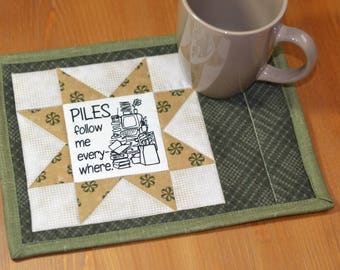 Quilted Mug Rug, Sewing sayings, Cotton Fabric Coaster, Quilted mug mat