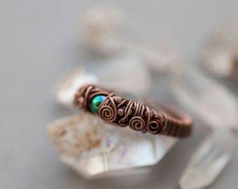Elderberry Ring, Rainbow Hematite Ring, Bohemian Nature Stacking Ring, Copper Woodland Hematite Jewelry, Hematite Ring