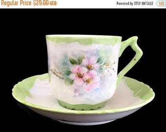 ON SALE Mustache Teacup, Tea Cup and Saucer, Porcelain Cups, Vintage China 13863
