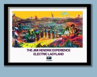 Jimi Hendrix Poster. Electric Ladyland . A2 size . Album art print . Rock posters . 60s rock poster . Psychedelic poster . Classic rock .