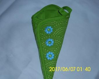 Green Scissors Holder / Hand Stitched / Upcycled Scissors Holder / Turquoise Flower Trim / Household Helper