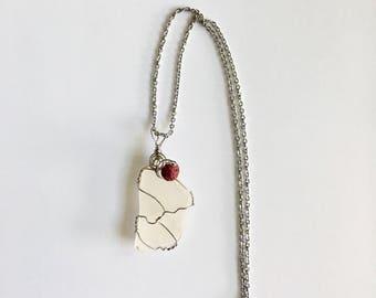 White  wrapped sea glass diffuser necklace