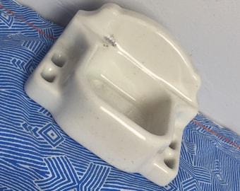 Vintage Cast Iron Porcelain Toothbrush Holder