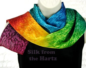 Rainbow Silk Satin Oblong Scarf