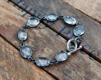 Faceted Crystal Quartz Bezel Bracelet